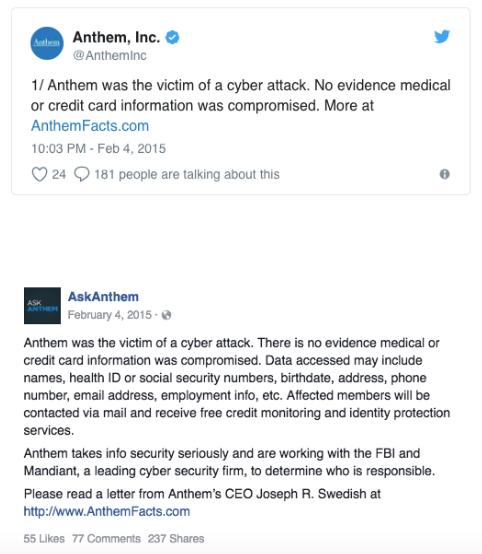 Caso Anthem comunicado ante violacion de datos PM